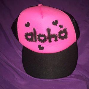 """Cute pink """"aloha"""" cap!"""
